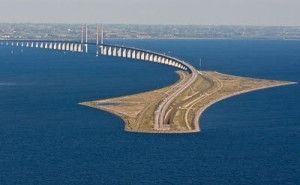 Denmark Oresund Bridge linking Denmark to Zealand and Malmo in Sweden