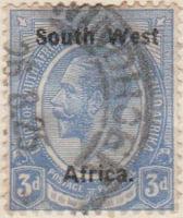 South West Afrika 1923 Postage Stamp 3d blue SG # 19 http://www.richterstamps.co.za Union of South Afrika Unie van Zuid Afrika Postzegel Revenue Inkomst Suid Wes Afrika King George V Crown