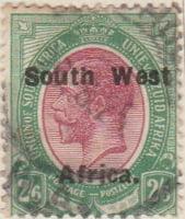 South West Afrika 1923 Postage Stamp 2/6 2S6d purple green SG # 37 http://www.richterstamps.co.za Union of South Afrika Unie van Zuid Afrika Postzegel Revenue Inkomst Suid Wes Afrika King George V Crown