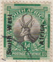 South West Afrika 1926 Postage Stamp ½d green SG # 45 http://www.richterstamps.co.za South Afrika SuidAfrika Posseel-Inkomste Revenue Suid Wes Afrika Springbok