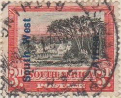 South West Afrika 1926 Postage Stamp 3d black red SG # 50 http://www.richterstamps.co.za South Afrika SuidAfrika Posseel-Inkomste Revenue Suid Wes Afrika Groot Schuur
