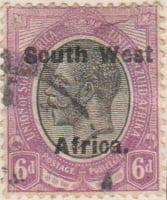 South West Afrika 1923 Postage Stamp 6d black violet purple SG # 6 http://www.richterstamps.co.za Union of South Afrika Unie van Zuid Afrika Postzegel Revenue Inkomst Suid Wes Afrika King George V Crown