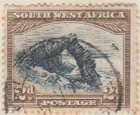 South West Afrika 1931 Postage Stamp 2d blue brown SG # 76 http://www.richterstamps.co.za SuidWes Afrika Posseel Bogenfels
