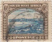 South West Afrika 1931 Postage Stamp 6d blue brown SG # 79 http://www.richterstamps.co.za SuidWes Afrika Posseel Luderitz Bay