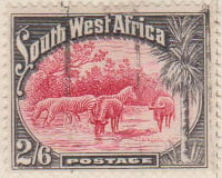 South West Afrika 1931 Postage Stamp 2/6 2S6d red grey SG # 82 http://www.richterstamps.co.za SuidWes Afrika Posseel Mountain Zebra Kwagga Wildebeest