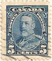 Canada 1935 Postage Stamp 5 five cents blue SG # 345 Postes Cowns Maple Leaves King George V