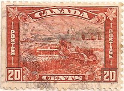 Canada 1930 Postage Stamp 20 Twenty cents Red SG # 295 Postes Harvesting with Tractor V Maple Leaves