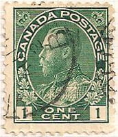 Canada 1912 Postage Stamp King George V 1 one cent green SG # 197 Crown Maple Leaves