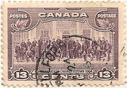 Canada 1935 Postage Stamp 13 thirteen cents violet purple SG # 348 Postes Confederation Charlotte Town 1864