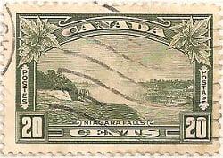 Canada 1935 Postage Stamp 20 twenty cents green SG # 349 Postes Niagara Falls