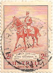 Australia Postage Stamp 1935 King George V on Anzac 1910 2d red SG# 156