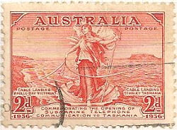 Australia Postage Stamp 1936 Opening of Submarine Telephone Cable to Tasmania Lady & Shell 2d red SG# 159