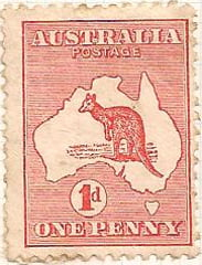Australia Postage Stamp 1913 Eastern Grey Kangaroo Continent 1d red SG# 2