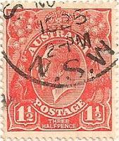 Australia Postage Stamp 1913 King George V 1½d red SG# 77