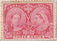 Canada 1897 Postage Stamp Jubilee Queen Victoria R I 3 three cents red SG # 126 1837