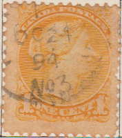 Canada 1868 Postage Stamp Queen Victoria one cent 1 yellow SG # 56A