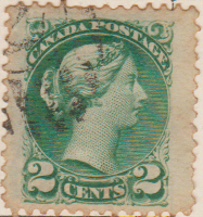 Canada 1868 Postage Stamp Queen Victoria 2 cents green SG # 57