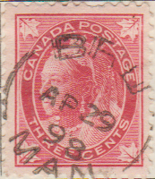 Canada 1897 Postage Stamp Queen Victoria 3 three cents red SG # 145 Maple Leaves