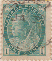 Canada 1898 Postage Stamp Queen Victoria 1 one cent green SG # 151 Maple Leaves