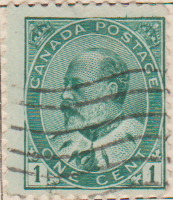 Canada 1903 Postage Stamp King Edward VII 1 one cent green SG # 175 Crown Maple Leaves