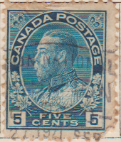 Canada 1912 Postage Stamp King George V 5 Five cents blue SG # 205B Crown Maple Leaves