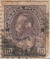 Canada 1912 Postage Stamp King George V 10 Ten cents Purple SG # 211 Crown Maple Leaves