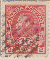 Canada 1916 Postage Stamp King George V 2 two cents red SG # 233 Crown Maple Leaves 1Tc