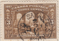 Canada 1917 Postage Stamp 50th Anniversary of Confederation 3 three cents brown SG # 244 1867 Maple Leaves painting The Fathers of by Robert Harris Quebec Conference 1864