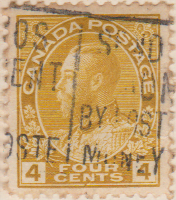 Canada 1922 Postage Stamp King George V 4 four cents yellow SG # 249 Crown Maple Leaves