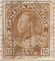 Canada 1922 Postage Stamp King George V 10 ten cents brown SG # 254A Crown Maple Leaves
