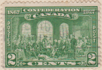 Canada 1927 Postage Stamp 60th Anniversary of Confederation Commemoration issue dated 1867 2 cents green SG # 267 postes post The fathers of