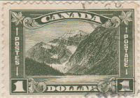 Canada 1930 Postage Stamp 1 Dollar Olive SG # 297 Postes Mount Edith Cavell Maple Leaves