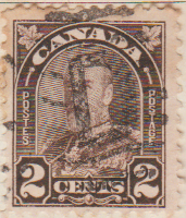 Canada 1930 Postage Stamp 2 two cents Brown SG # 302B Postes King George V Maple Leaves