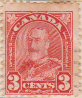 Canada 1930 Postage Stamp 3 three cents red SG # 303 Postes King George V Maple Leaves