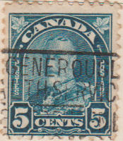 Canada 1930 Postage Stamp 5 Five cents Blue SG # 304 Postes King George V Maple Leaves