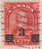 Canada 1932 Postage Stamp 3 cents on 2 cents red SG # 314A Postes King George V Maple Leaves