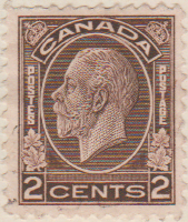 Canada 1932 Postage Stamp 2 cents brown SG # 320 Postes King George V Maple Leaves Crown Postes