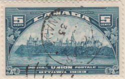 Canada 1933 Postage Stamp 5 five cents blue SG # 329 Postal postale UPU Congress Preliminary Meeting Maple Leaves Parliament Buildings Ottawa