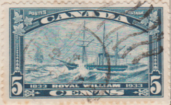 Canada 1933 Postage Stamp 5 five cents blue SG # 331 Postes Centenary of the 1st Transatlantic Steamboat Crossing Maple Leaves Royal William 1833 Painting by S Skillett