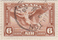 Canada 1935 Postage Stamp 6 zix cents brown SG # 355 Postes Air Daedelus Maple Leaves