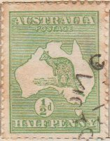 Australia Postage Stamp 1913 Eastern Grey Kangaroo Continent ½d green SG# 1