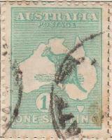 Australia Postage Stamp 1913 Eastern Grey Kangaroo Continent 1s green SG# 40A