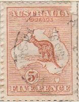 Australia Postage Stamp 1913 Eastern Grey Kangaroo Continent 5d brown SG# 8