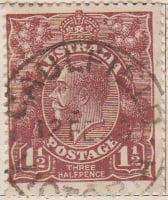Australia Postage Stamp 1913 King George V 1½d brown SG# 59