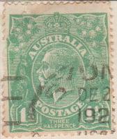 Australia Postage Stamp 1913 King George V 1½d green SG# 61