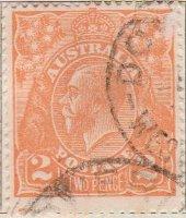 Australia Postage Stamp 1913 King George V 2d orange SG# 62