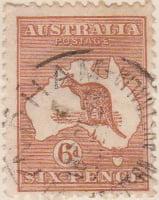 Australia Postage Stamp 1913 Eastern Grey Kangaroo Continent 6d brown SG# 73