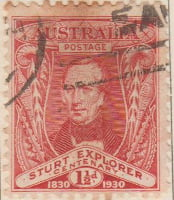 Australia Postage Stamp 1930 Centenary of Captain Chas Sturt's Exploration of River Murray 1830 1½d red SG# 117