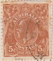 Australia Postage Stamp 1913 King George V 5d brown SG# 130