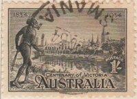 Australia Postage Stamp 1934 Centenary of Victoria River Jarra 1s black SG# 149